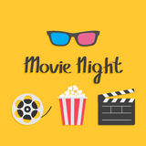 3D glasses Movie reel Open clapper board Popcorn Cinema icon set. Flat design style.. Yellow background. Movie night text. Vector illustration Stock Images