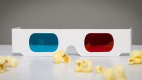 3d glasses and popcorn Royalty Free Stock Image