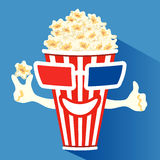 3d glasses put on a box with popcorn. Who smiles Stock Image