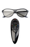3d glasses and remote control TV. Stock Photography