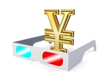 3d glasses and sign of yen. Royalty Free Stock Image