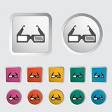 3D glasses single icon. Stock Photo