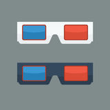 3D glasses vector illustration with flat color style. Stock Image