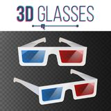 3d Glasses Vector. Red, Blue Stereoscopic. Paper Cinema 3d Object Glasses. 3d Glasses Vector. Red, Blue Stereoscopic. Paper Cinema 3d Object Glasses. Isolated Royalty Free Stock Photography