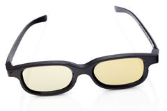3D glasses by yellow color Royalty Free Stock Image
