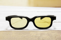3D glasses by yellow color Stock Photos