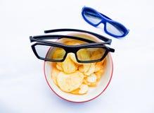 3D glazen op gebraden geïsoleerde aardappel Royalty-vrije Stock Afbeelding