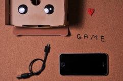 3D glazen voor spel op mobiele telefoon stock afbeeldingen