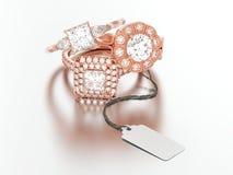 3D gli anelli di diamante rossi di impegno dell'oro della rosa differente dell'illustrazione tre con la corda etichettano illustrazione di stock