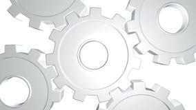 3D gli ingranaggi bianchi di animazione cinque girano Alpha Channel Fine in su illustrazione di stock