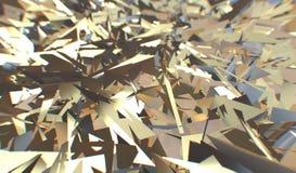 3d Glitch geeft, gouden moderne verbrijzelde gebiedstextuur, willekeurige driehoeken terug de digitale illustratie, geometrisch s royalty-vrije illustratie