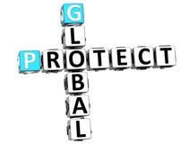 3D globais protegem palavras cruzadas Fotografia de Stock