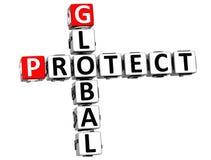 3D globais protegem palavras cruzadas Foto de Stock Royalty Free