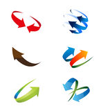 3D Global Arrow Icon Set Stock Photography