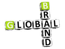 3D Global Brand Crossword text. Cube words on white background Royalty Free Stock Photo