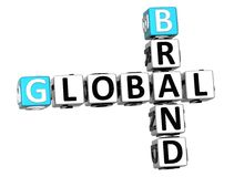 3D Global Brand Crossword text. Cube words on white background Stock Image