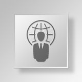 3D global business Button Icon Concept. 3D Symbol Gray Square global business Button Icon Concept Royalty Free Stock Images