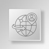 3D global business Button Icon Concept. 3D Symbol Gray Square global business Button Icon Concept Royalty Free Stock Photography