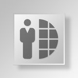 3D global business Button Icon Concept. 3D Symbol Gray Square global business Button Icon Concept Royalty Free Stock Photo