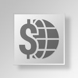 3D global Button Icon Concept Stock Photos