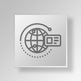 3D global card Button Icon Concept Royalty Free Stock Photography