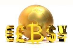 3D Global currency symbols. 3D rendering of golden global currency symbols plus bitcoin sign around golden world globe Stock Illustration