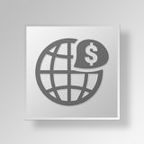 3D global finance Button Icon Concept. 3D Symbol Gray Square global finance Button Icon Concept Royalty Free Stock Photography