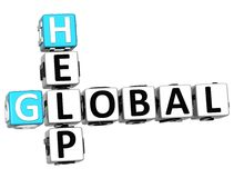 3D Global Help Crossword. On white background Royalty Free Stock Photography