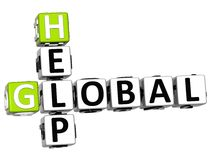 3D Global Help Crossword. On white background Royalty Free Stock Image