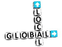 3D Global Local Crossword Stock Photos