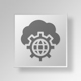 3D global network Button Icon Concept Stock Photo