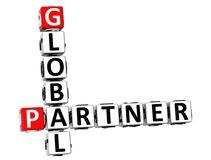 3D Global Partner Crossword Stock Photography
