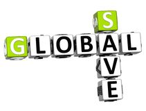 3D Global Save Crossword text. Cube words on white background Stock Photography