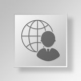 3D  Global Support Button Icon Concept Stock Photo