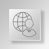 3D Global Support icon Business Concept Stock Images