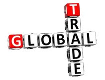 3D Global Trade Crossword text. 3D Global Trade Crossword cube words on white background Royalty Free Stock Image