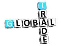 3D Global Trade Crossword text. 3D Global Trade Crossword cube words on white background Royalty Free Stock Photo