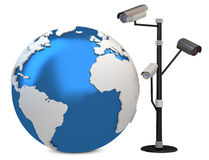 3d global video surveillance cameras Royalty Free Stock Images