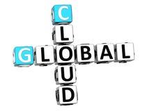 3D Globale de kubuswoorden van Wolkenjob crossword Stock Fotografie