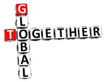3D Globalny Crossword Wpólnie Fotografia Royalty Free