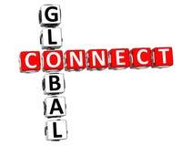 3D globaux relient des mots croisé Photographie stock