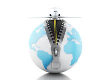 3d Globe with airplane on top Stock Photo