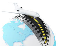 3d Globe with airplane on top Stock Images