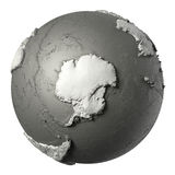 3D Globe Antarctica. Globe model with detailed topography without water. Antarctica. 3d rendering isolated on white background. Elements of this image furnished stock illustration