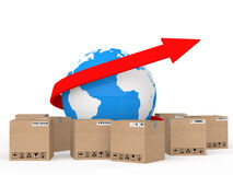 3d globe with arrow and shipping cartons Royalty Free Stock Images