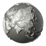 3D Globe Asia. Globe model with detailed topography without water. Asia. 3d rendering isolated on white background. Elements of this image furnished by NASA Royalty Free Stock Photos