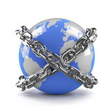 3d Globe is bound by chains Royalty Free Stock Photography