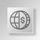 3D Globe Business Button Icon Concept. 3D Symbol Gray Square Globe Business Button Icon Concept Royalty Free Stock Photo