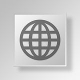 3D Globe Button Icon Concept Royalty Free Stock Photos