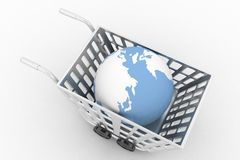 3d globe in cart Stock Photo